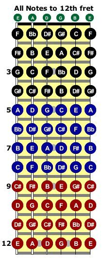 guitar notes on a fretboard